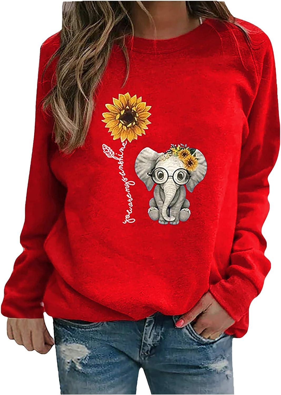 Women Sweatshirts Pullover,Funny Elephant Sunflower Tops Crewneck Long Sleeve Comfy Lightweight Sweater