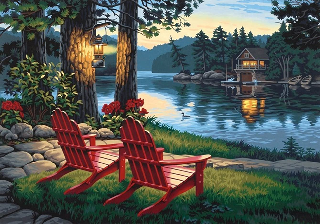 YXQSED [Wooden Framed] DIY Oil Painting Paint by Number Kit for Adult- Adirondack Lake Evening 16x20 Inch plfcfa800165