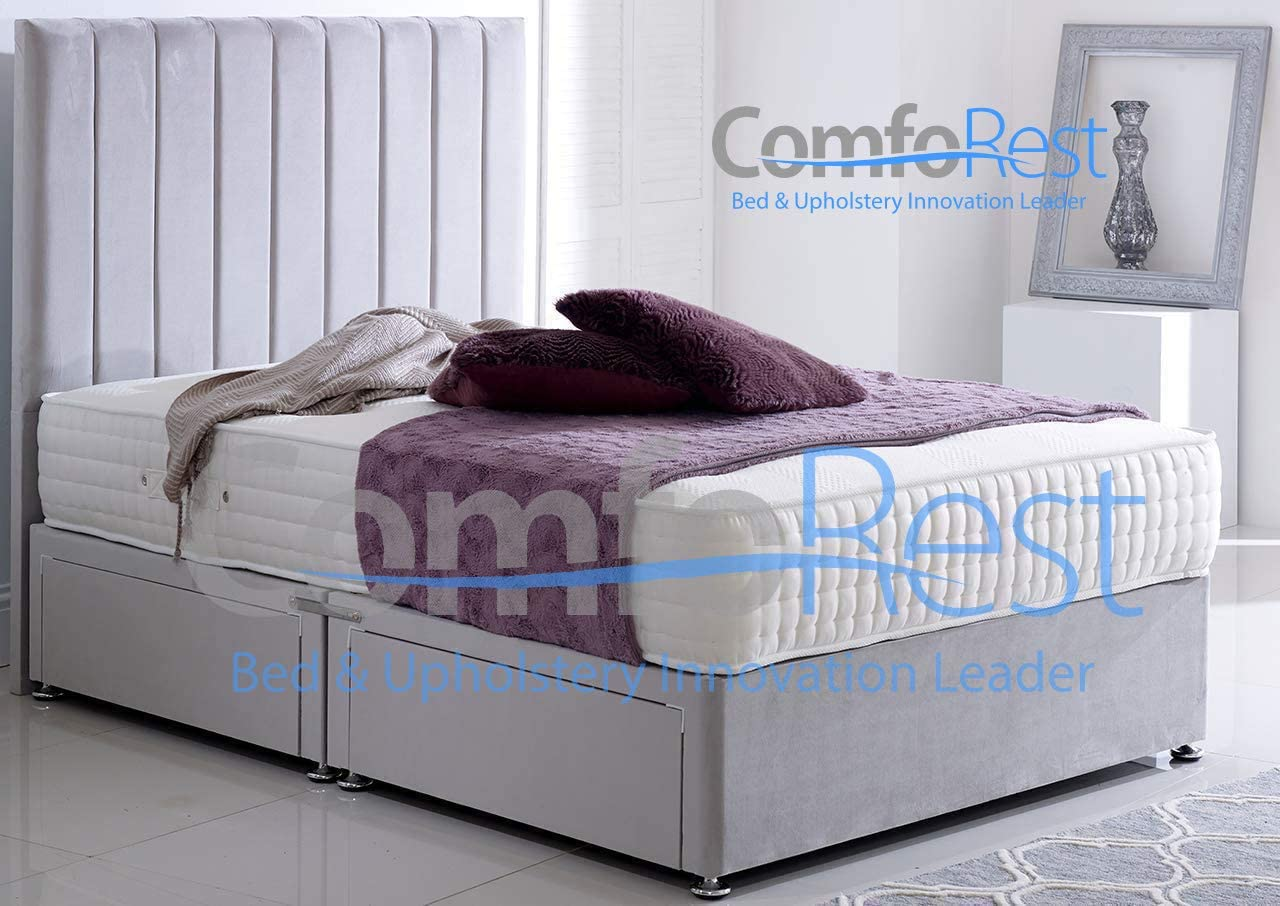 3FT - Single 2 Drawers And 54 Stripe Headboard Bedding /& Upholstery Innovation Leader Silver Plush Velvet Divan Set With Luxury 10 Pocket Mattress ComfoRest