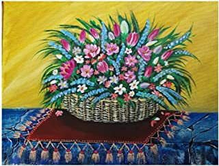 Handmade paynting of Colorful wildflower basket size 30×40cm