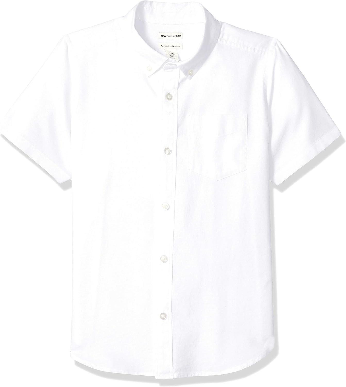 Essentials Boys' Kids Uniform Short-Sleeve Woven Oxford Button-Down Shirts: Clothing