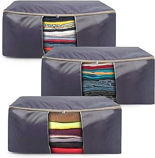 BelleStyle Sac De Rangement pour Vêtement, Lot De 3 Grande Capacité Tissu Sac de Rangement sous Lit avec Fermeture Eclair,...