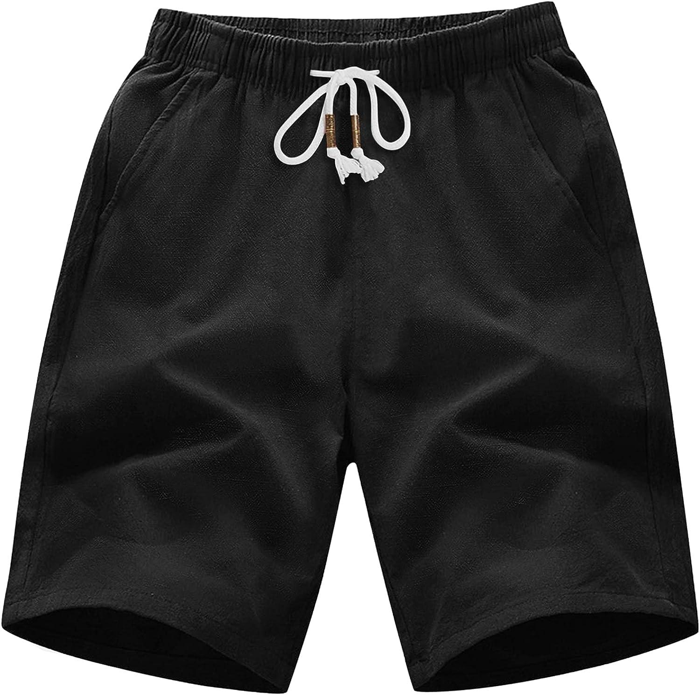 MAGNIVIT Men's Casual Linen Cotton Summer Bea Classic shopping Cheap SALE Start Fit Shorts