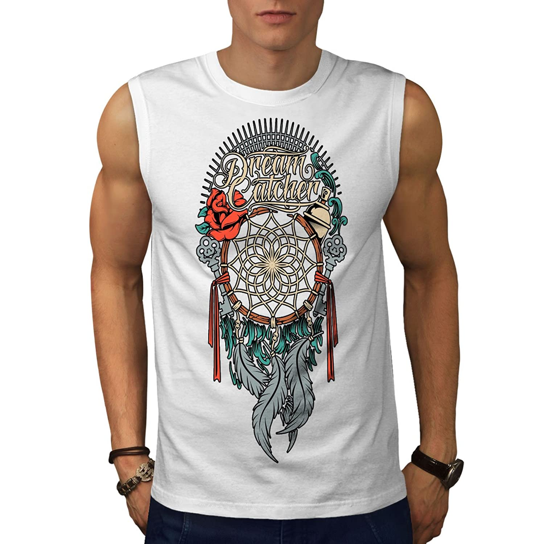 Wellcoda 夢 アート フェザー ファッション 男性用 S-5XL 袖なしTシャツ