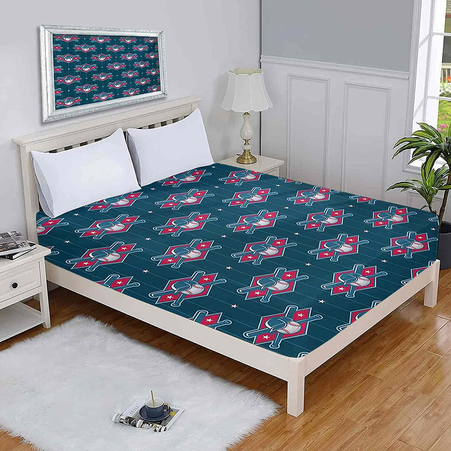 Sports Queen Mattress Cover Modern Un Competing Shipping included Sale Special Price Baseball Player