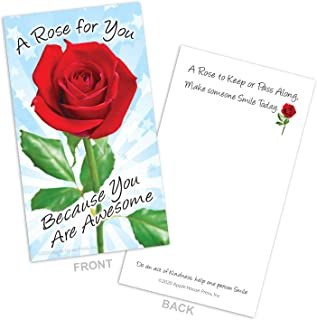 A Rose For You, Because you are Awesome Cards � Box of 100 - Be Kind, Show Appreciation, Encouragement, Romance, Thanks, Love notes for Husband, Wife, Couples