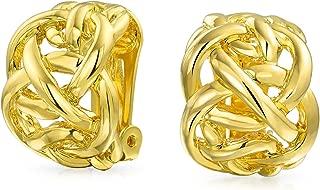 Open Criss Cross Celtic Knot Work Weave Wide Half Hoop Clip On Earrings For Women Non Pierced Ears 14K Gold Plated Brass