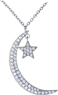 Platinum Plated 925 Sterling Silver Round Cubic Zirconia Moon Star Celestial Pendant Necklace, Adjustable Length 16,17,18