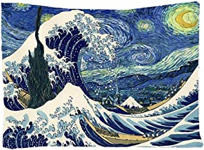 Felu Wall Hanging Tapestries, The Starry Night and Great Wave Wall Art Tapestry Boho Hippie Curtain for Children's Room Dorm Decor 51x59 Inchs