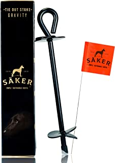 Säker Premium Tie Out Stake - Heavy Duty Anchor That fits Any Dog | Tether for Tie-Out Cable That Will Never Rust, Bend or Get Pulled Out