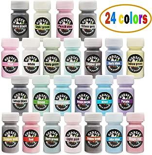 Epoxy Resin Color Pigment Mica Powder 24 Color Powdered Pigments Set(0.18oz Each Bottles) – Soap Dye – Bath Bomb Making Supplies – Eyeshadow and Lips Makeup Dye – Slime Pigment – Nail powder (24Color)