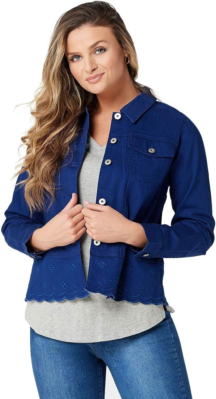 Denim & Co. Womens Twill Jean Jacket with Scallop Bottom XL A352982