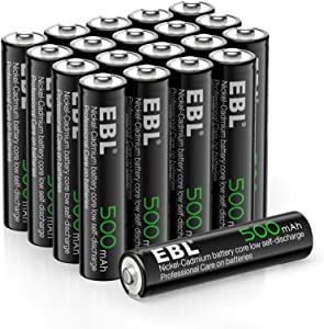 EBL AAA Rechargeable Batteries for Solar Lights Replacement Garden Light, 1.2V 500mAh High Performance Ni-CD Battery - 20 Pack