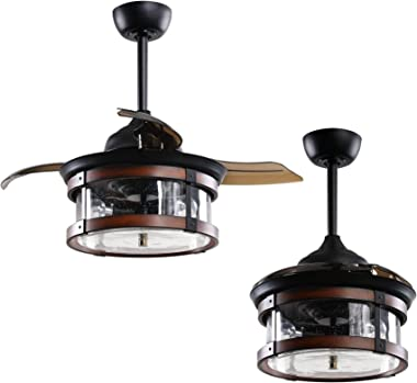 Farmhouse Ceiling Fan with Remote 36 Inch Black Retractable Ceiling Fan with Lights, Rustic Chandelier Ceiling Fan for Bedroo