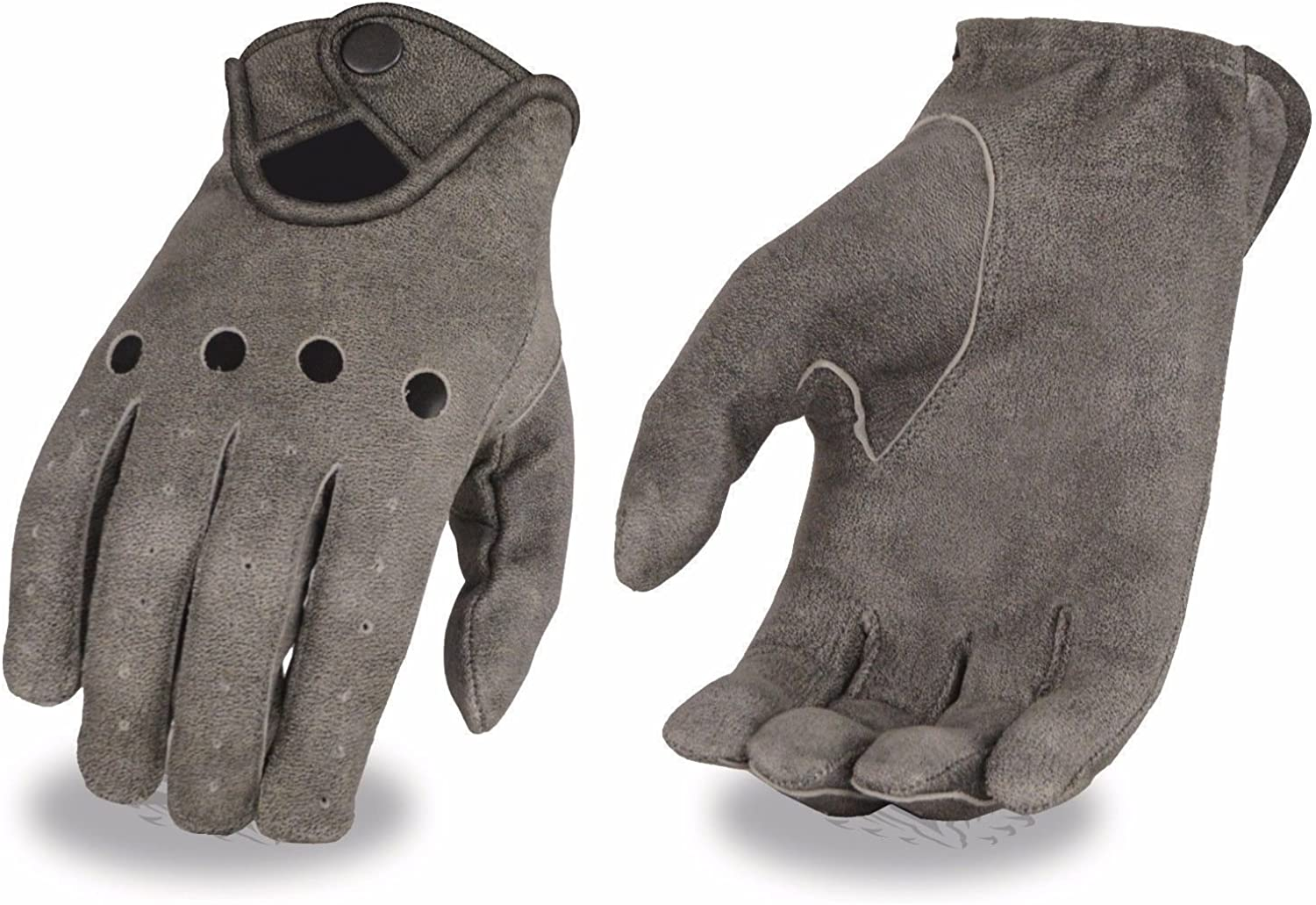Mens perforated leather gloves snap unlined distressed grey riding snap closure