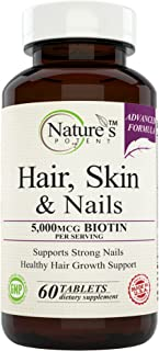Nature's Potent - Hair, Skin and Nails Vitamins, Best for Hair Growth - Advanced Formula, Extra Strength with 5000 mcg Bio...