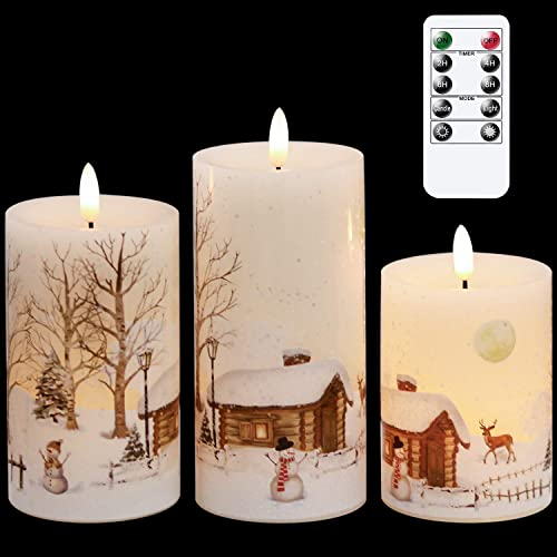 new arrival GenSwin Christmas Snowman Battery Operated Candles Flameless Flickering with outlet sale Remote Timer, 3D Wick Real Wax Led lowest Pillar Candles Warm Light, Christmas Snowman Deer Home Decor Gift(Pack of 3) sale