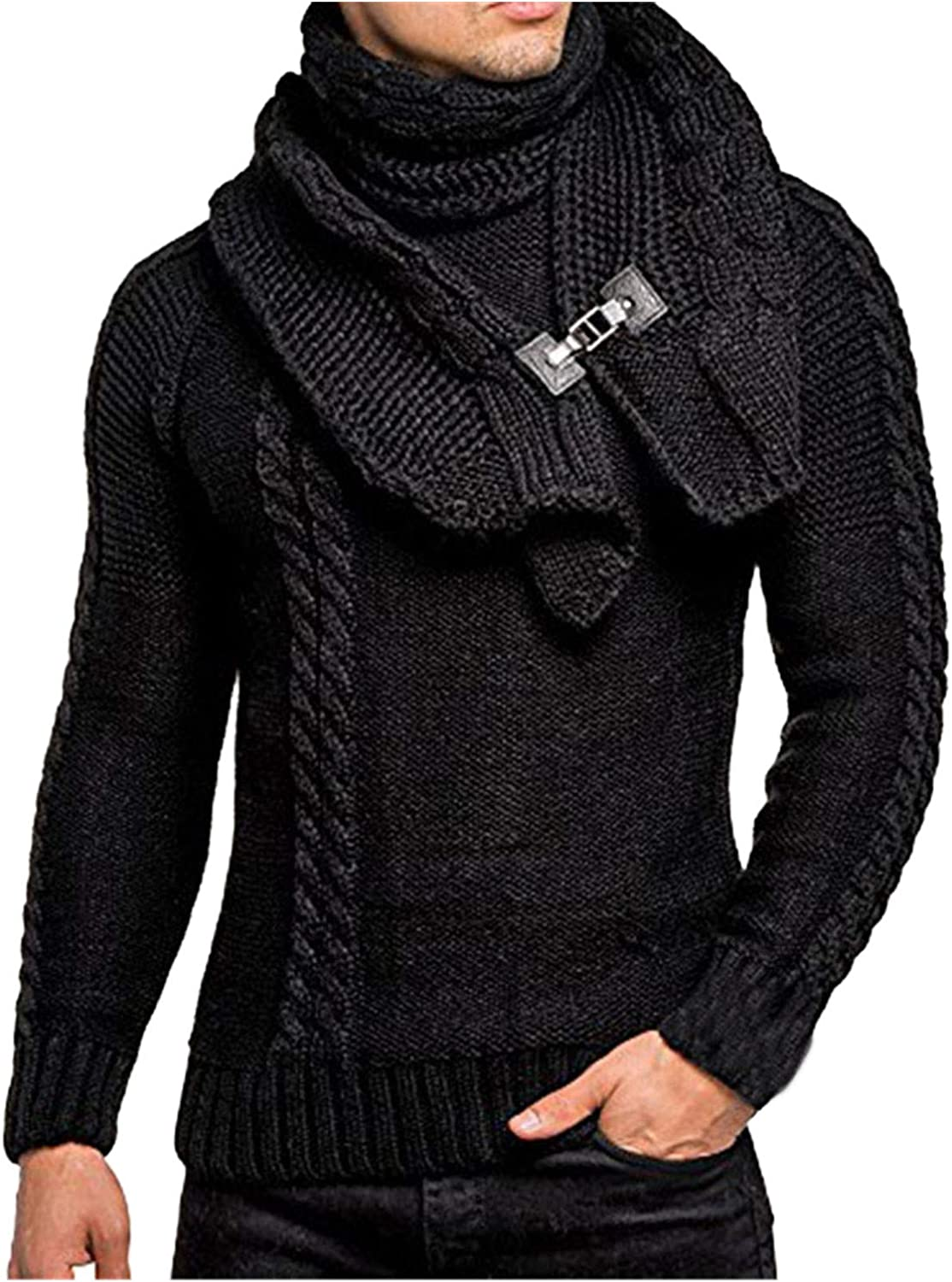 Mens Novelty Sweaters Slim Pullover Knitwear Casual Neck Wrap Head Cable Sweater Jumper