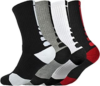 4 Pack Mens Cushion Basketball Athletic Long Sports Outdoor Socks Compression Crew Sock Size 6.5-11.5