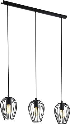 Lámpara colgante EGLO NEWTOWN, lámpara de suspensión con 3 bombillas, lámpara colgante retro de acero, color: negro, casquillo: E27