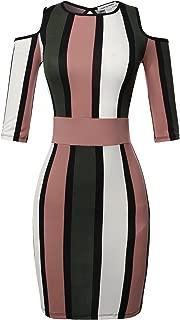 Made by Emma Women's Pinstripe Print Spaghetti Strap Off-Shoulder Body-Con Mini Dress