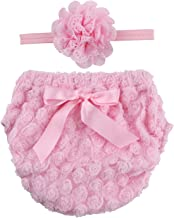 ICObuty Rose Ruffle Bloomer Diaper Cover and A Flower Headband for Baby Girls Toddlers