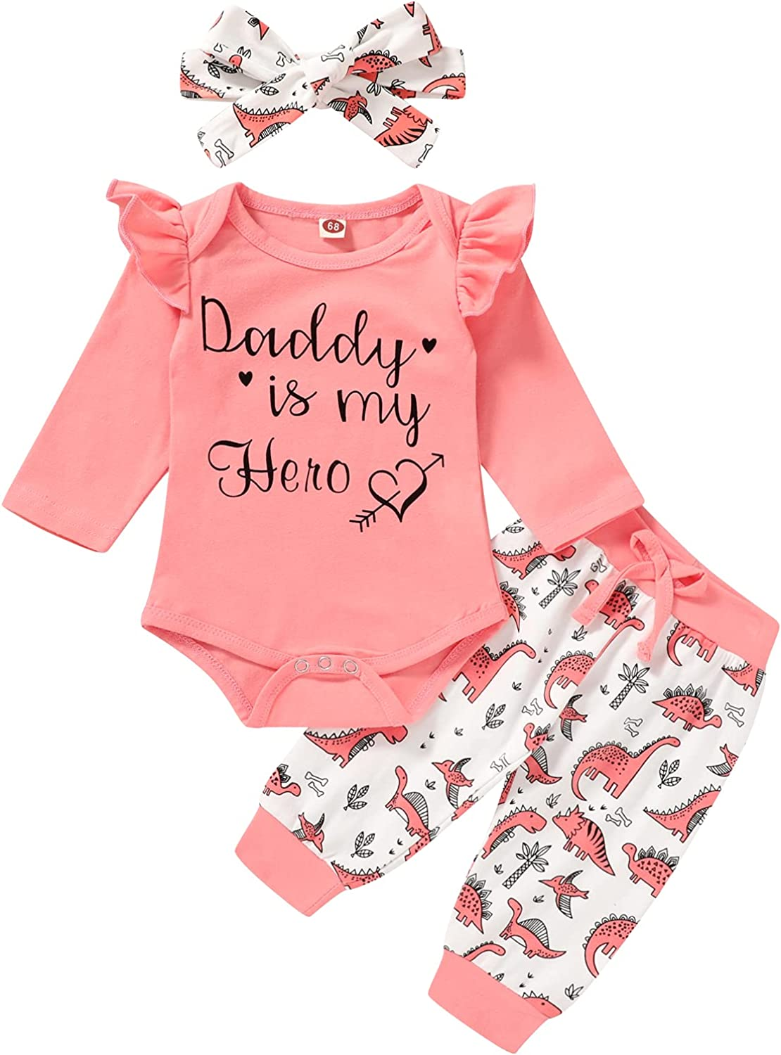 Infant Baby Girl Clothes Letter Romper Dinosaur Pants Headband Newborn Girl Outfits Fall