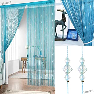 Timere Crystal Beaded Curtain Tassel Curtain - Partition Door Curtain Beaded String Curtain Door Screen Panel Home Decor Divider Crystal Tassel Screen 90x200cm (Blue#)