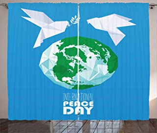 MSGDF World Curtains, International Peace Day Origami Birds with Oil Branch Polygonal Globe, Living Room Bedroom Window Drapes 2 Panel Set, Deep Sky Blue Multicolor,Size:110
