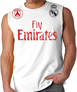 Fly Emirates Paris Real Madrid Adult Sleeveless World Cup Soccer Muscle Shirt