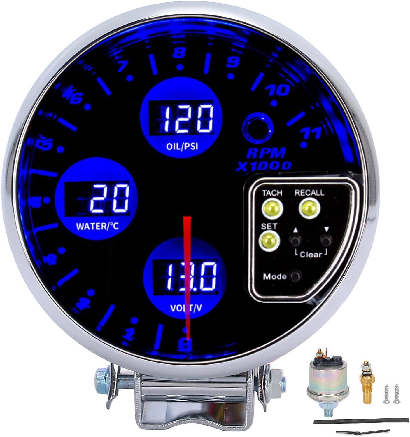 Medidor 4 en 1, 5 en 4 en 1, temperatura del agua, medidor de presión de aceite, voltímetro, tacómetro, luz de fondo azul, puntero rojo para cilindro de 12V 4/6/8