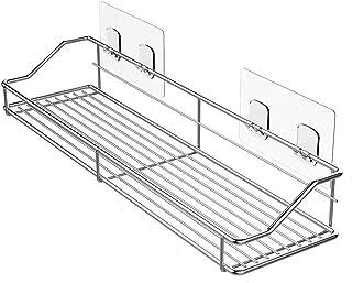 BQKOZFIN 強力粘着 浴室用ラック 壁掛けラック ステインレス シャワーラック バスルーム用ラック お風呂場 洗面台収納 10kg荷重 1個