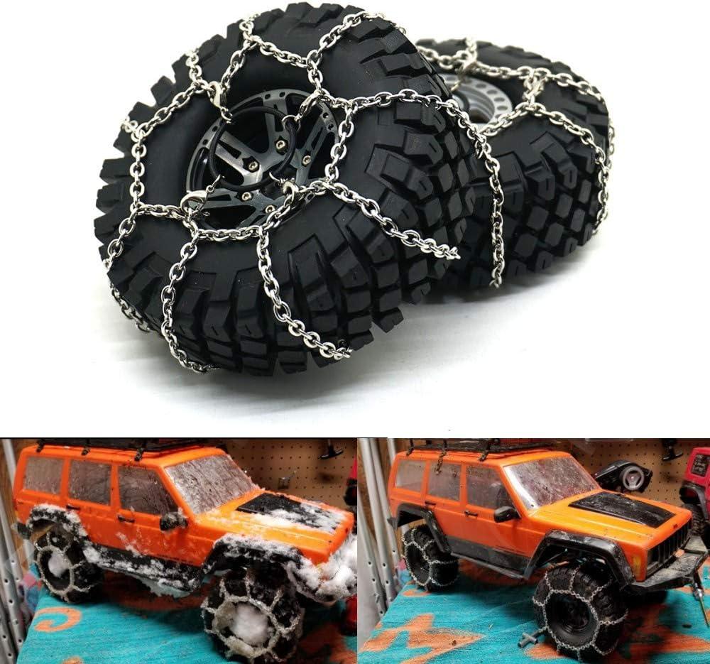 XUNJIAJIE 4 Piezas Antideslizantes Neumáticos Nieve Seguridad de Las Cadenas Flexibles para RC Crawler Car Traxxas TRX4