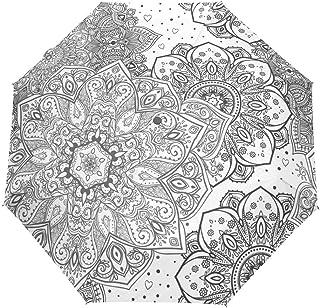 rodde Parapluie Vintage Floral Indien Mandala Stripe Noir Blanc Auto Ouvert Fermer Soleil Pluie