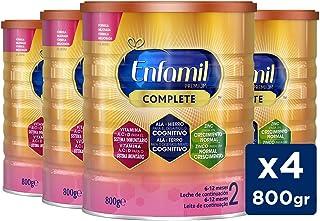 Enfamil Complete 2 - Leche Infantil de Continuación para Lactantes Bebés de 6 a 12 Meses, Pack Mensual 4 latas x 800 gr