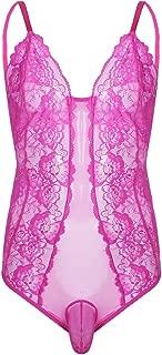 ACSUSS Men's Sheer Lace Bodysuit Sissy Pouch Thong Leotard Crossdress Nightwear