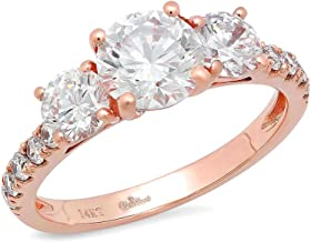 Clara Pucci 2.2 Ct Round Cut Pave Three Stone Promise Accent Bridal Engagement Wedding Anniversary Band Ring 14K Rose Gold