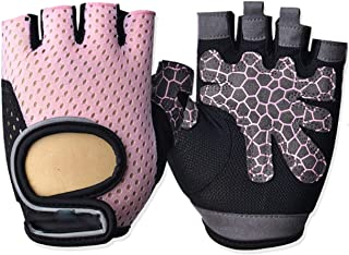 LIUFULING Half Finger Gym Biking Cycling Glove Rock Mountain Bike Gloves Hollowed Out for Men and Women,1 Pair (Color : Pink, Size : XL)