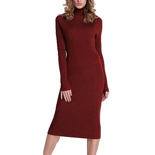 f81884c03b2d Rocorose Women s Turtleneck Ribbed Elbow Long Sleeve Knit Sweater Dress