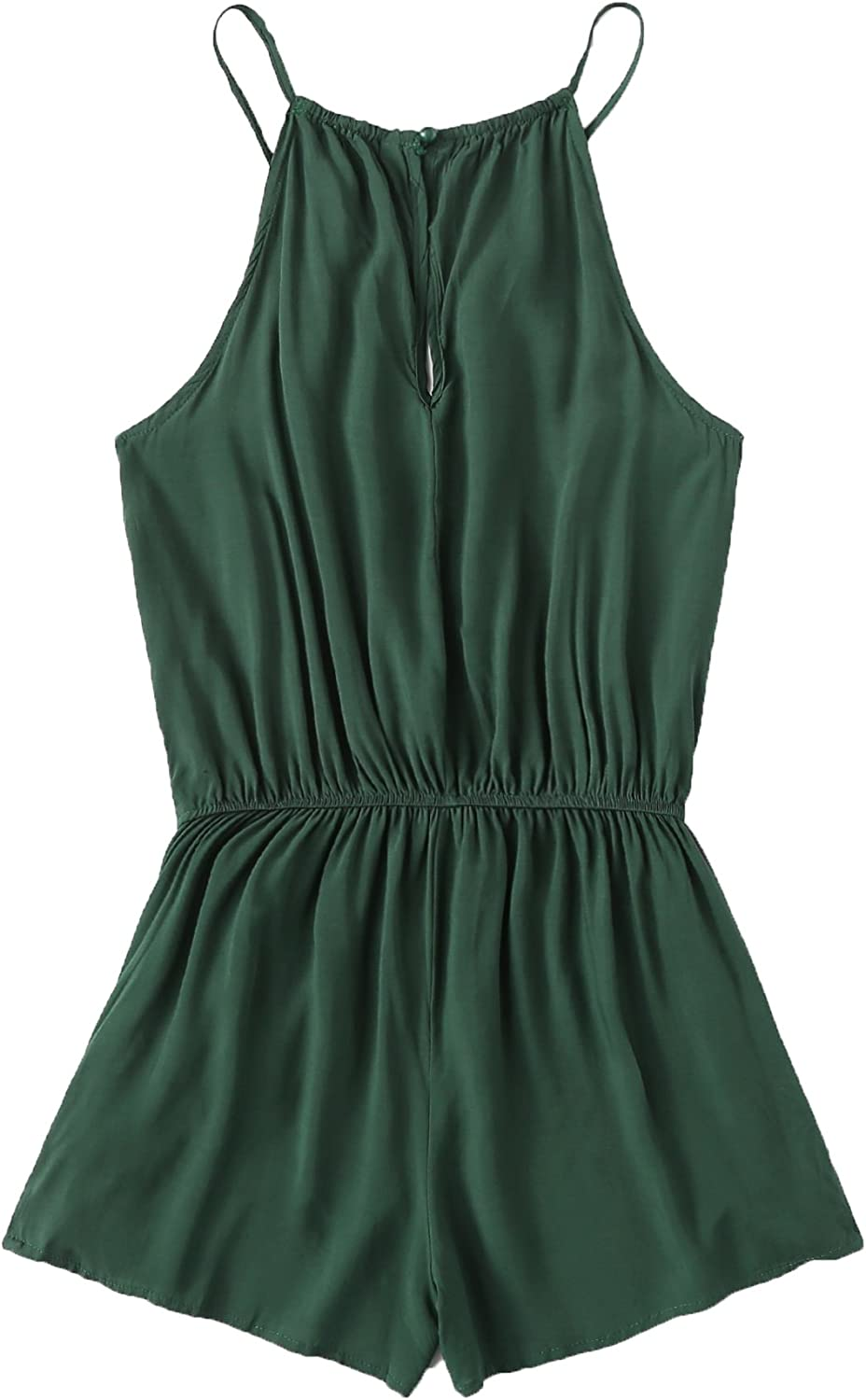 ROMWE Womens Casual Embroidered Tape Detail Cami Romper Jumpsuit with Pockets