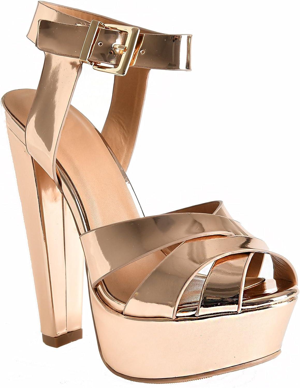 LUSTHAVE Women's Gigi Ankle Strap Cross Front Platform Ultra High Heel Dressy Casual Sandals