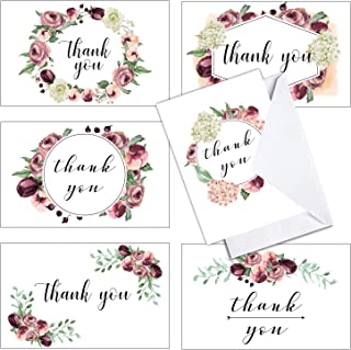 36 BLOSSOM BOX Floral Thank You Cards - With Envelopes - Wedding Bridal Showers and Baby Showers