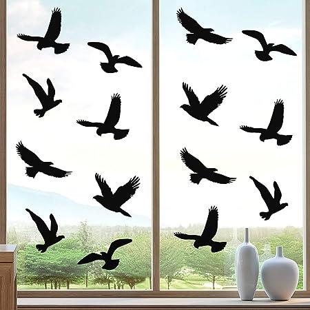 Boao 20 Stück Groß Größe Anti Kollision Fenster Aufkleber Vogel Form Fenster Aufkleber