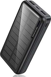 Solar Power Bank 30,000mAh-Minrise Portable Charger, Solar Charger Power Bank with 2 USB Outputs, External Battery Pack fo...
