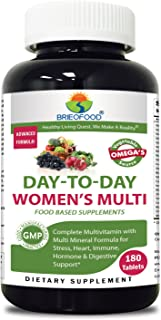 Brieofood Womens Multivitamin 180 Tablets, Food Based daily Multivitamin for women made with Vegetable Source Omegas, probiotics and herbal blends