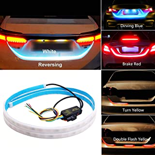 Car Led Strip Trunk Tail Brake Turn Signal Lights Flow Type Ice Blue Red Yellow White, Cool Car decoration Tailgate access...