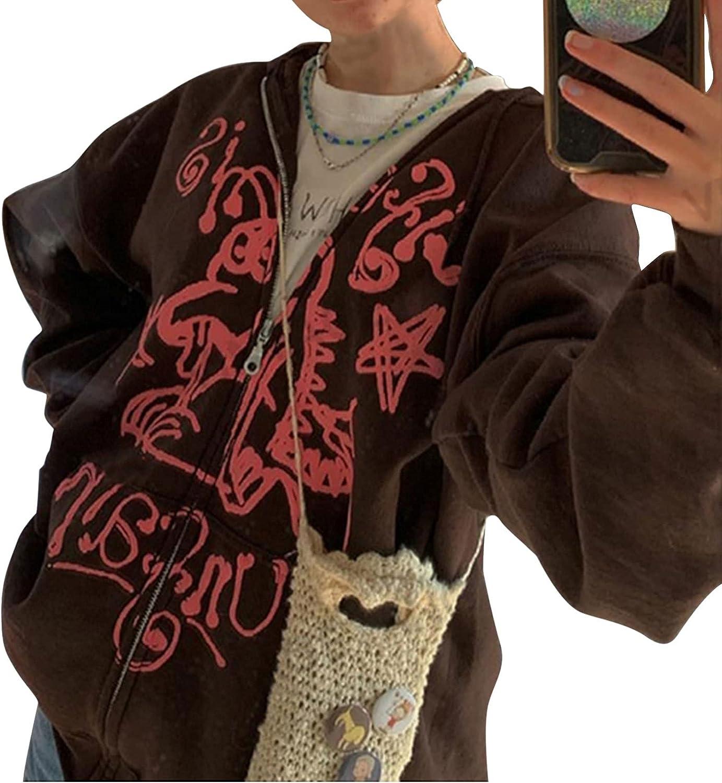 Women Y2k Zip Up Hoodie Long Sleeve E-Girl Oversized Sweatshirt Punk Goth Sweat Shirts Jacket with Pockets