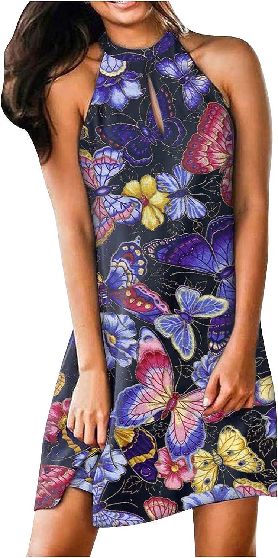 JPLZi Dress for Women, Women Summer Casual Sleeveless Midi Dresses Halter Neck Sun Dresses for Beach Wedding Party
