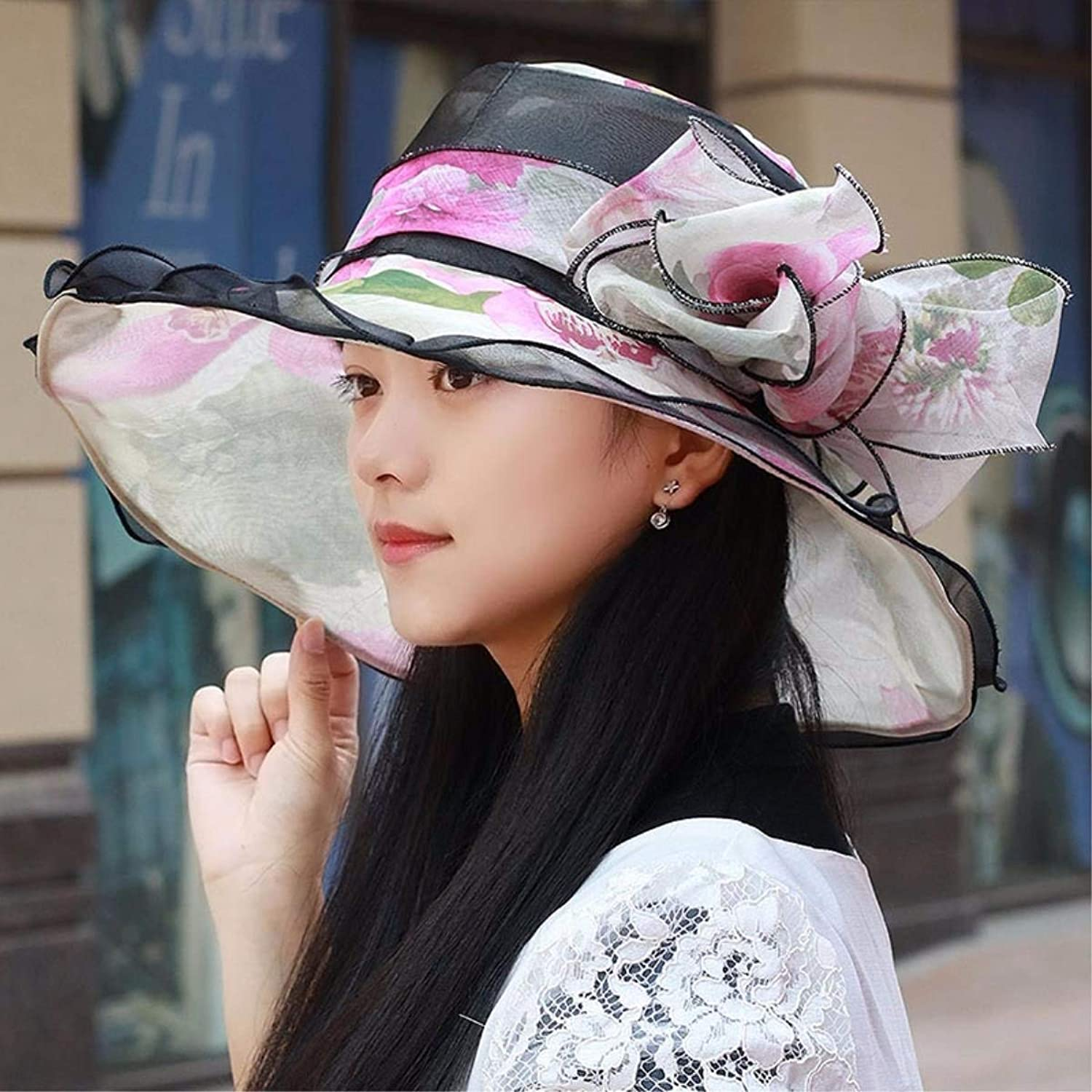 Chuiqingnet The new big lotus leaves along the edge of the Visor snow spinning outdoor sun cap visor sun hat female summer cool Cap (color   Pink, Size   M)