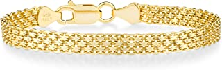 Miabella 18K Gold Over Sterling Silver Italian 6mm Solid Bismark Mesh Link Chain Bracelet for Women, 7, 7.5 Inch 925 Made in Italy